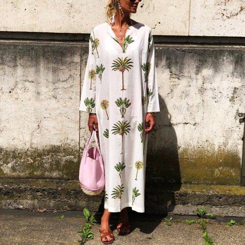 Fashion Print Long Sleeve   Holiday Dress