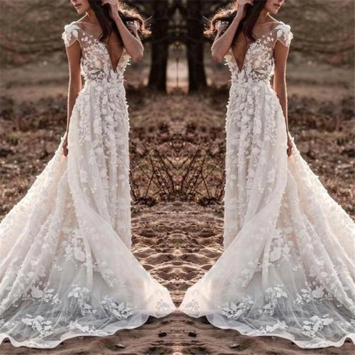 Sexy Deep V-Neck Backless Lace Big Pendulum Evening Dress