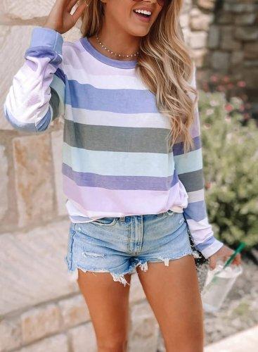 Round Neck Striped Sweatshirt
