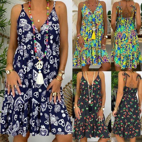 Women's Ladies Plus Size Dresses Loose Spaghetti Strap Print Sleeveless Bandage V-Collar Dress Casual Knee-Length Dress