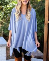 Solid V Neck Loose Top