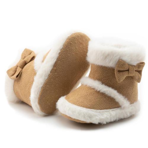 Baby Shoes Newborn Warm Winter Booties Christmas Socks Cute Bow Fleece Snow Boot Soft Toddler Boys Girls Anti-slip Crib Shoes