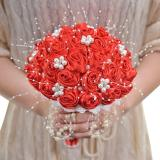 Ivory Wedding Bouquets 2020 Pearls Beaded Bridal Bouquet Bridesmaid Holder With Ribbon Rose Flowers Bouquets