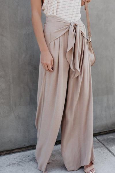 Loose Fitting  Belt  Plain Pants