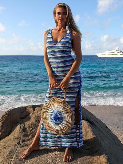 Knitting Stripes Beach Hollow Cover-up Swimwear