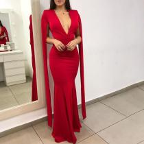 Fashion Sexy Deep V Fishtail Red Evening Dress