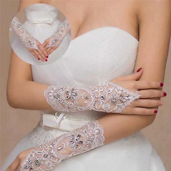 1 Pair 2 Styles White/Red/Beige Bridal Gloves Elegant Short Paragraph Rhinestone White Lace Glove Beautiful Wedding Accessories