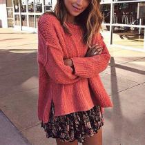 Elegant Round Neck Irregular Sweater