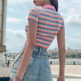 Rainbow Embroidery Zipper Striped Crop Tops