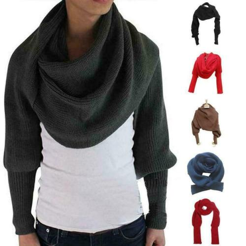 Women Scarf 2020 Winter Fashion Knitted Long Sleeve Wrap Shawl Solid Casual Elegant Lady Scarves