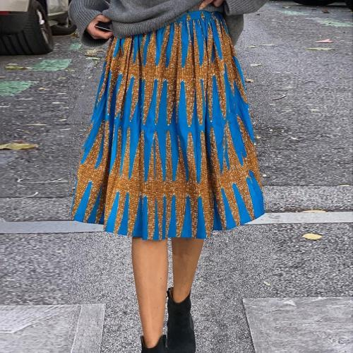 Street Fashion Contrast Color Pattern Skirt RY58