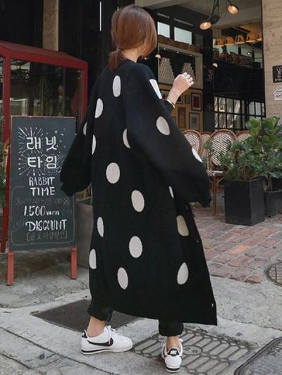 Loose Polka-dot Printed Long Cover-up