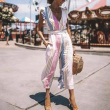 EBUYTIDE Fashion V-Neck Flutter Sleeve Stripe Printed Vacation Jumpsuit