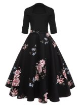 1950s Floral Print Patchwork Swing Dress