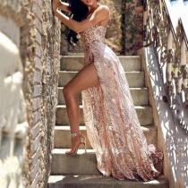 Sexy Deep V Sling Sequins Evening Dress