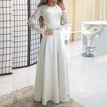 Round Neck Long Sleeve Lace  Evening Dresses