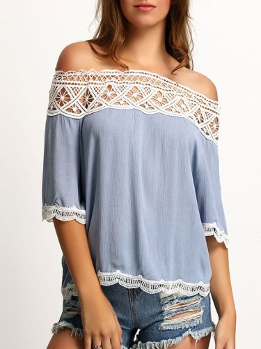 Women  Off Shoulder  Decorative Lace See-Through  Plain  Half Sleeve Blouses
