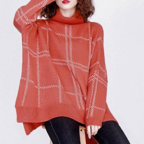 Fashion High Collar Check Printed Loose Knit Sweater