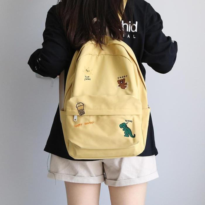 Female Cute Embroidery Backpack Women Harajuku School Bag Teenage Book Ladies Backpack Kawaii College Student Girl Bags Fashion