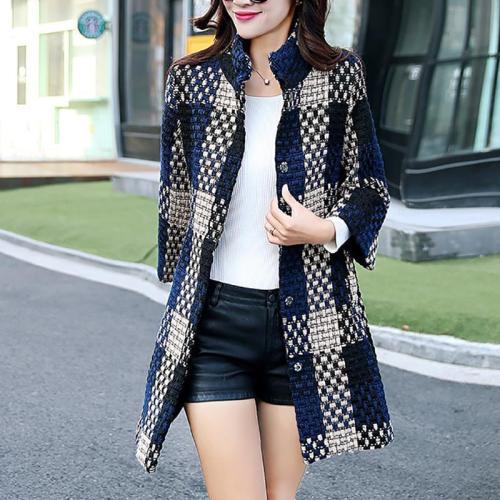 Fashion Woolen Lattices Cashmere Woolen Coat