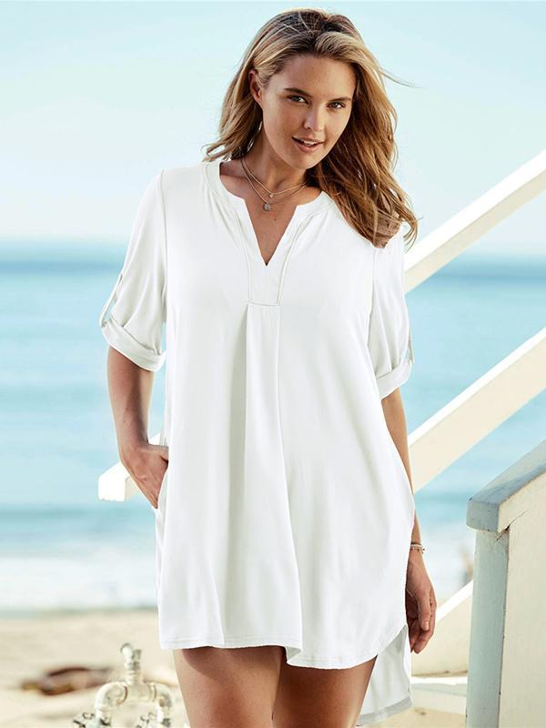 Casual V-neck Loose Cover-up Swimwear