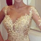 Elegant Sexy Paillette Slip Gold Evening Dress