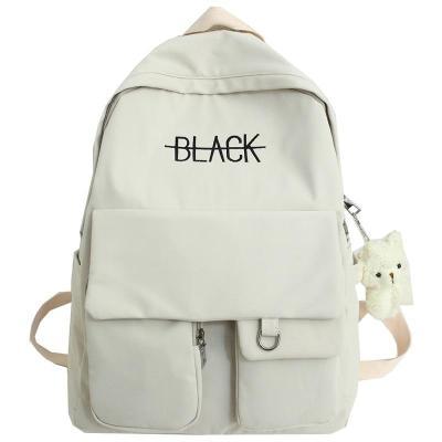 New Student Women Cute Backpack Harajuku Cotton Fabric Female Fashion School Bag Girl Luxury Book Kawaii Backpack Lady Bag Black