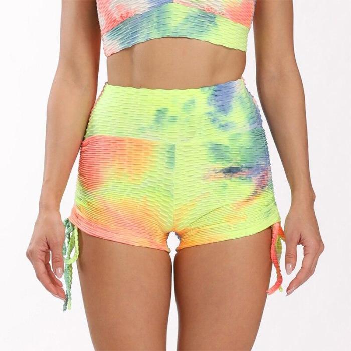 New Tie Dye Sport Shorts For Women Push Up Yoga Shorts Ladies High Waist Stretchy Fitness Running Jogging Gym Leggings Sportwear
