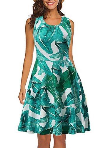 Printed Sleeveless Vest Skater Dress