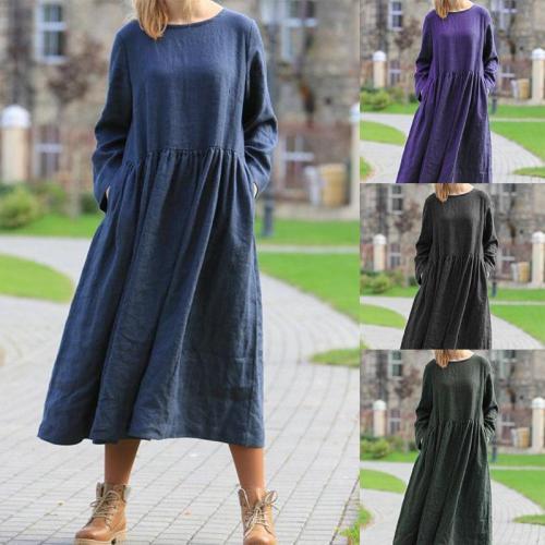 Casual Loose Pure Color Long Sleeve Maxi Dress