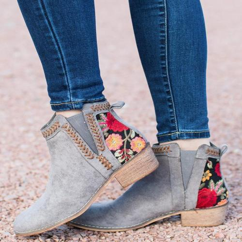 Women's Floral Printed Boots