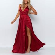 Sexy Plain Evening Belted Dress