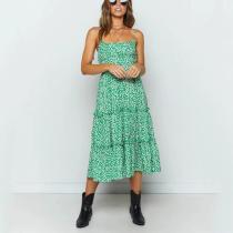 Strap Sexy Print Stitching Midi Dress