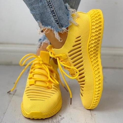 EBUYTIDE Net Surface Breathable Lace-Up Hollow Out Sneakers