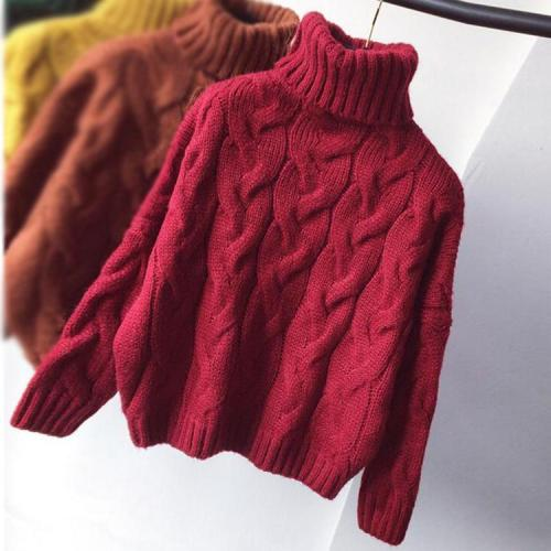 2020 AutumnWomen Thick Long Sleeve Turtleneck Knitted Loose Crop Sweaters Pullover Korean Female Casual Winter Warm Sweater Top