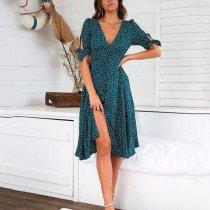 Fashion Print Polka Dot Button   Dress