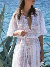 Lace Waisted Puff Sleeves Cover-up