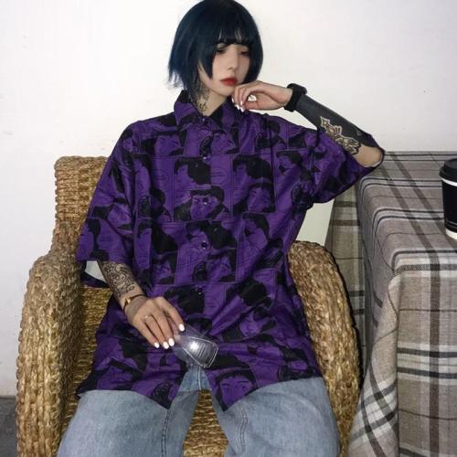 Streetwear Female Short Sleeve Women Blouse Loose Cartoon Print Korean Style Harajuku Shirt