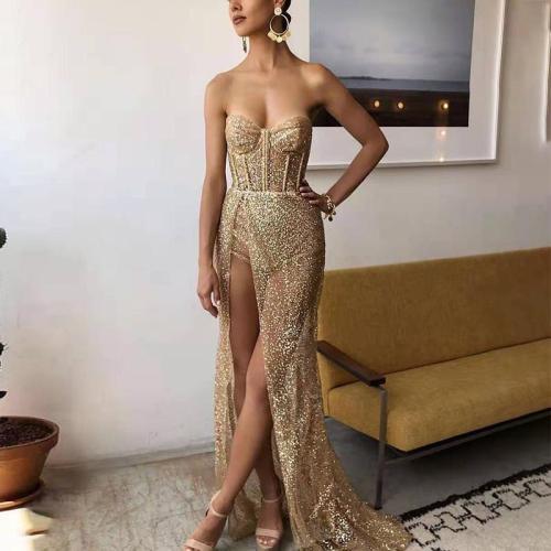 Elegant Woven Paillette Long Evening  Dress