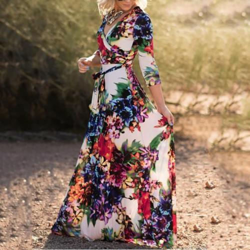 Bohemian V Neck Belted Printed Colour Dress