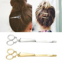 Hot Fashion Girls Chic Golden Silvery Scissors Shape Hair Clip Hair Pin Headwear Barber Scissors Hair scissors easy carrying
