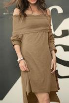 Fashion Off-Shoulder Pure Colour Mini Dresses