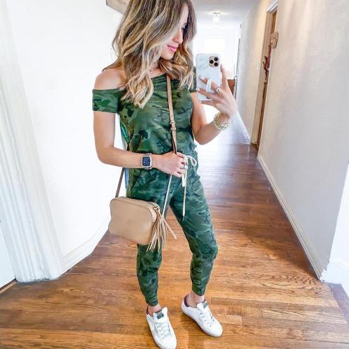 EBUYTIDE Special One Shoulder Camouflage Print Jumpsuit