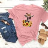 Calf Chrysanthemum Print Short Sleeve T-shirt