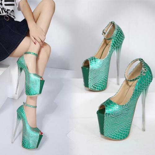 Super High Platform Ankle Wrap Stiletto Heels Peep Toe Sandals Club Shoes