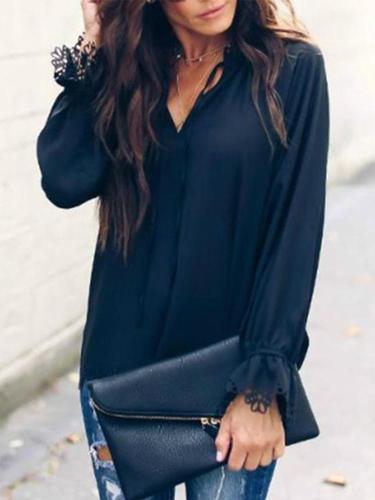Sexy Sweet V Collar Plain Lace Border Hollow Chiffon Shirt