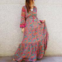 Fashion V-Neck Long Lantern Sleeve Floral Casual Maxi Dress
