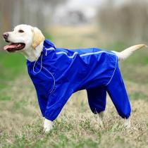 Pet Dog Raincoat Reflective Waterproof Zipper Clothes High Neck Hooded Jumpsuit For Small Big Dogs Overalls Rain Cloak Labrador
