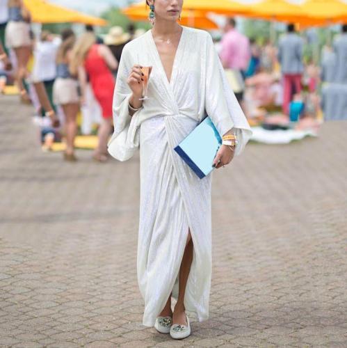 Women's Elegant Simple V-Neck Solid Color Dress