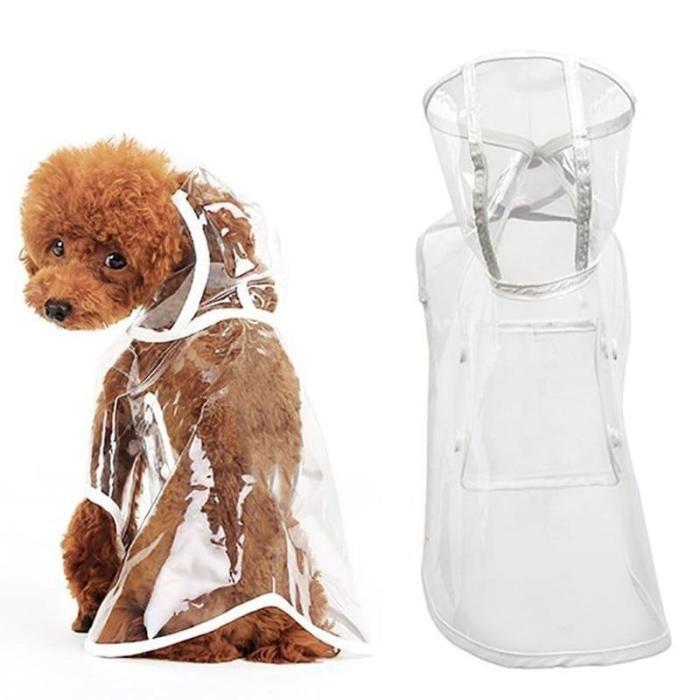 Pet Dog Puppy Transparent Rainwear Raincoat Pet Hooded Waterproof Jacket Clothes